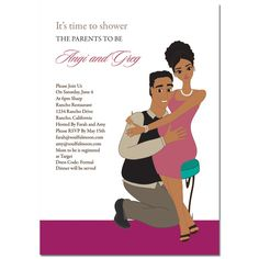 African American Baby Shower Invitations   Baby Hugs Couple