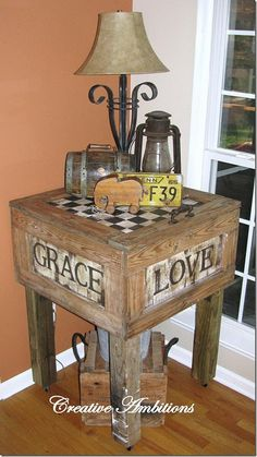Table from shipping crate...