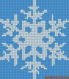 Winter snowflake perler bead pattern - use as a cross stitch pattern for children to sew