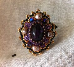 Jewel of Bavaria 2 -  SALE - Adjustable Opulent Glass Medieval ring, Empress Purple Ring, Bead Embroidered