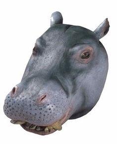 mascara cabeza de hipopotamo de lujo unitalla adulto. fiesta