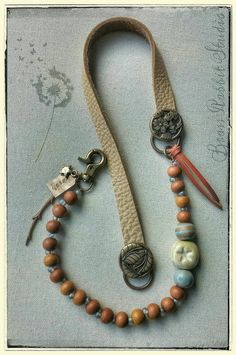 What if Kumihimo ''replaced' the leather portion? Bohemian necklace leather beaded mixed media by BrassRabbitStudio Jewelry Show, Jewelry Gifts, Jewelry Design, Jewelry Necklaces, Bohemian Necklace, Bohemian Jewelry, Leather Necklace, Leather Jewelry, Handmade Necklaces