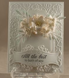 White on white gorgeousness using a Cuttlebug folder and Spellbinders dies.