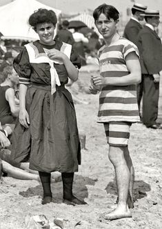 No middle ground at the beech, it's either a swimming suit or formal clothes.  1904