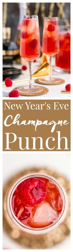 New Year's Eve Champagne Punch is loaded with Triple Sec blackberry brandy Chambord pineapple juice ginger ale and champagne for a drink that's sure to impress all your NYE party guests! Party Drinks Alcohol, Fun Drinks, Yummy Drinks, Alcoholic Drinks, Yummy Food, Alcohol Punch, Alcohol Shots, Yummy Yummy, Delish