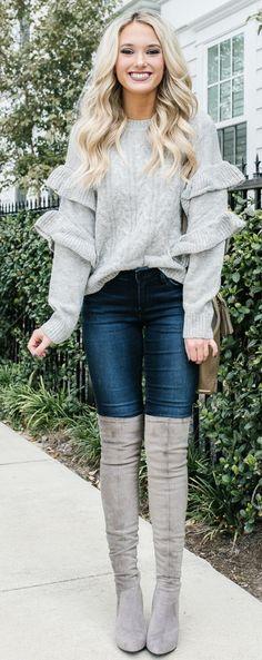 wonderful grey knitwear sweater