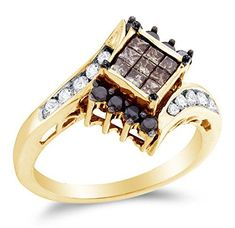 @blackdiamondgem Size 7 – 14K Yellow Gold Chocolate Brown , Black & White Princess Cut & Round Diamond Engagement Ring – by Sonia Jewels - See more at: http://blackdiamondgemstone.com/colored-diamonds/jewelry/wedding-anniversary/engagement-rings/size-7-14k-yellow-gold-chocolate-brown-black-white-princess-cut-round-diamond-engagement-ring-invisible-set-square-princess-center-setting-shape-with-channel-set-side-stones-34-cttw-com/#sthash.as3oWTzP.dpuf: @blackdiamondgem Size 7 – 14K Yellow Gold…