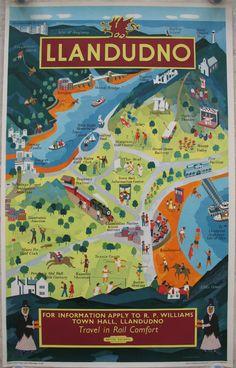 Original Railway Poster Llandudno Travel in Rail Comfort, by Ernest William Fenton. Available on originalrailwayposters.co.uk