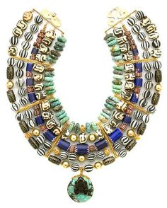 Tony Duquette (American, 1914-1999)'Representing Strength and Success Through Versatility', 1990s. A turquoise, horn, coral, trade bead and vermeil necklace, with original box/ (48.2cm). Sold for $6,100