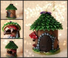 www.artwen.com -- I'd like to make small fairy house birdhouses for the garden!