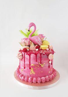 Flamingo Cake, Marieke, Taart Den Bosch Flamingo Party, Flamingo Cake, Flamingo Birthday, Beautiful Cakes, Amazing Cakes, Harry Potter Torte, Birthday Drip Cake, Cake Table Decorations, Cake Decorating Tips