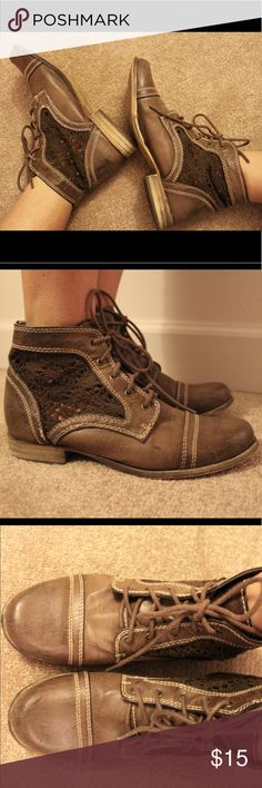 Brown lace booties Adorable brown booties with lace detailing! Purchased at Marshall's and gently worn. Shoes Ankle Boots & Booties