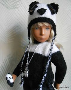 NEW HAND KNITTED  PANDA OUTFIT  FOR SASHA  DOLL