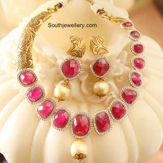 Ruby Diamond Necklace Set photo
