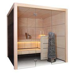 In der modernen Sauna mit Glasfront kommt unser Sauanofen Cilindro bestens zur Geltung www.wellness-stock.de/Saunaofen-Cilindro
