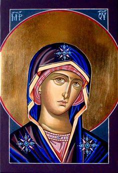 Theotokos icon by Katarzyny Kobyszewskiej Religious Pictures, Religious Icons, Religious Art, Church Icon, Byzantine Icons, Holy Mary, Blessed Virgin Mary, Orthodox Icons, Blessed Mother