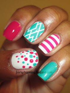 pink and torquiose nail designs   Nail Designs with Diamonds