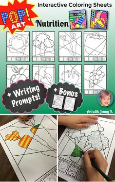 """Super fun and colorful """"Pop Art""""-themed set of interactive coloring sheets of fruits and vegetables--great accompaniment to lessons on nutrition and healthy eating!"""