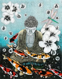 Buddha painting with dragonflies and koi fish.