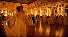 Ballroom Scene in BBC adaptation of War and Peace Illuminated with Verbatim LED candle lamps