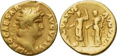 Nero aureus - reverse depicts Nero and Poppaea, the wife he killed with a kick to the stomach. Rome, 64-65 AD.