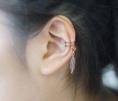 Double Little Bird Feather Ear Cuff *Antique Copper