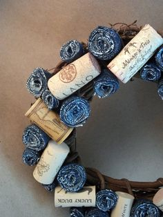 Denim and Wine Wreath by The Ornament Patch Denton, TX  $20