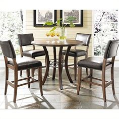5Piece Counter Height Round Wood Dining Set with Parson Stool * Want to know more, click on the image.Note:It is affiliate link to Amazon. #likeall
