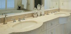 Tired of your current bathroom vanity? Less expensive #countertops come in a variety of colours!