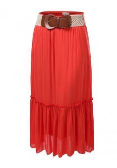 Gauze Maxi Skirt with Matching Belt #jtomsonplussize