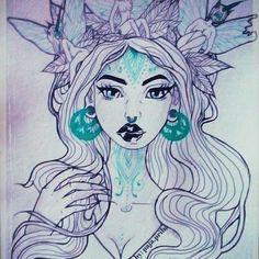#by: paja.priba June 2016 #art🎨 #pencil #girl #fanart #painting #girl #flowers #tattoo #nymf #elf #fairy