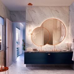 Dramatic Bath | Master Bath | Wall Hung Vanity | Navy | Copper Faucet | Backlit Mirror | Marble | Modern Bath | Oh! By wandersyoo - Marcel Wanders