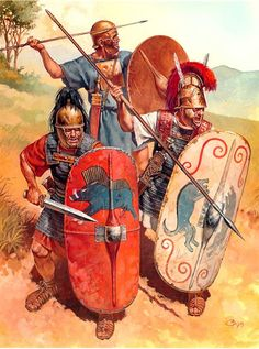 Republican Roman legionaries, Left to right in front, hastati (1st and 2nd lines of maniples) and veteran triarii (3rd and last line of half maniples). In back is an Italian tribes ally warrior, possibly a Samnite.