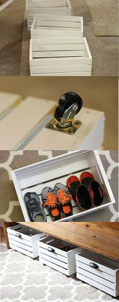 hidden rolling crate shoe organizer