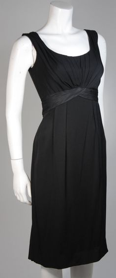 Ceil Chapman 1950's Black Cocktail Draped Cocktail Dress