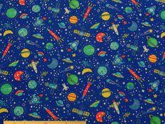 スモック、ナフキン、キンチャク、袋物などの制作に、宇宙とロケット柄コットンCBポプリンプリント(ブルー)  110cm巾 綿100%  - そーいんぐ・すていしょんコミニカ