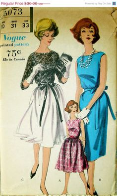 ON SALE LOVELY Vintage 1960's Vogue Pattern 5073 by anne8865, $25.50