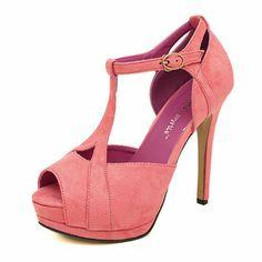 Sexy T-Straps Peep-toe Stiletto Platform Sandals T Strap Shoes, Stiletto Heels, Peep Toe, Coral, Platform, Wedges, Sandals, Gowns, Sexy