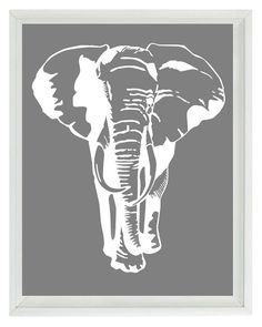 Elephant Nursery Wall Art Prints - White Gray Decor Silhouette - Children Kid Room Safari Africa Home Decor 8x10 Print. $15.00, via Etsy.
