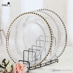 2016 Wholesale Cheap Wedding Clear Silver Gold Glass Beaded Charger Plates From Shanxiholy, $3.42 | Dhgate.Com