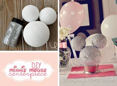 DIY Minnie Mouse Centerpiece, Glitter Minnie Mouse Centerpiece