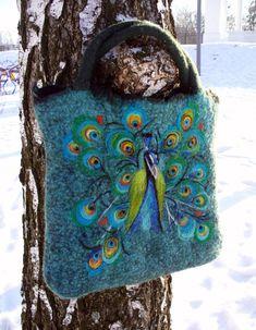Felt Wool Tote Peacock,One of kind Felted handbag, handmade, OOAK Ready to Ship