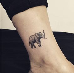 Adorable elephant tattoo on ankle by Hongdam