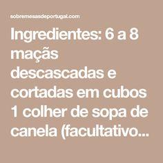 Ingredientes: 6 a 8 maçãs descascadas e cortadas em cubos 1 colher de sopa de canela (facultativo) 5 colheres de sopa de açucar 2 e 3/4 de chávena de farinha com fermento 1 colher de chá de sal 1/2 chávena de óleo 2 chávenas de açucar 1/2 chávena de sumo de laranja 2 colheres e …