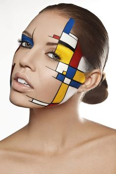 """Mondrian"" Style by Damien Mohn on - Make-up New Makeup Ideas, Makeup Inspiration, Fantasy Inspiration, Creative Inspiration, Creative Makeup Looks, Simple Makeup, Make Up Looks, Mondrian Kunst, Piet Mondrian"
