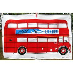 Your place to buy and sell all things handmade Vintage London, Retro Vintage, London Red Bus, London Souvenirs, Double Decker Bus, Price Sticker, Tea Towels, Linens, Buy And Sell