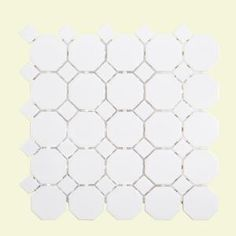 with dark grout jeffrey court retro octagon white dot in x 6 mm porcelain mosaic tile at the home depot mobile