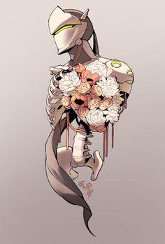 Overwatch - Giving a Bouquet Overwatch Tattoo, Genji And Hanzo, Genji Shimada, Epic Art, Cartoon Games, Manga Art, Game Art, Cool Art, Video Games