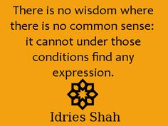 """this Sufi aphorism resonates the natural law """"There is no wisdom where there is no common sense: it cannot under these conditions find any expression"""" Idries Shah Sufi Quotes, Spiritual Inspiration, Follow Me On Instagram, Favorite Quotes, Mystic, Psychology, Spirituality, Inspirational Quotes, Wisdom"""