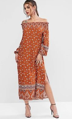 Long Sleeve Floral Off Shoulder Bohemian Slit Maxi Dress. This BoHo ready festival off the shoulder long sleeve bohemian maxi dress with slit is perfection,  #Fashion #LookBook #OutfitOfTheDay #LookOfTheDay #Fashionable #FashionStyle  #FashionAddict #FashionLover #Fashionista #FashionStylist